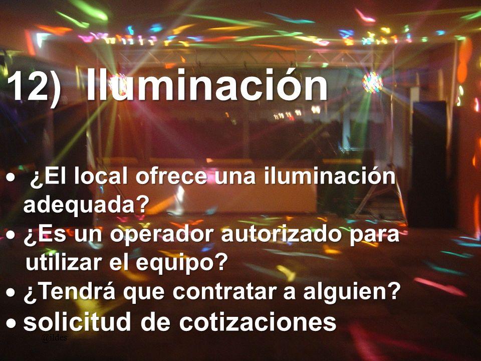 12) Iluminación @ildes ¿El local ofrece una iluminación adequada? ¿El local ofrece una iluminación adequada? ¿Es un operador autorizado para ¿Es un op