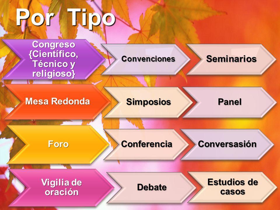Por Tipo @ildes Congreso {Científico, Técnico y religioso} Convenciones ConvencionesSeminarios Mesa Redonda SimposiosPanel Foro ConferenciaConversasió