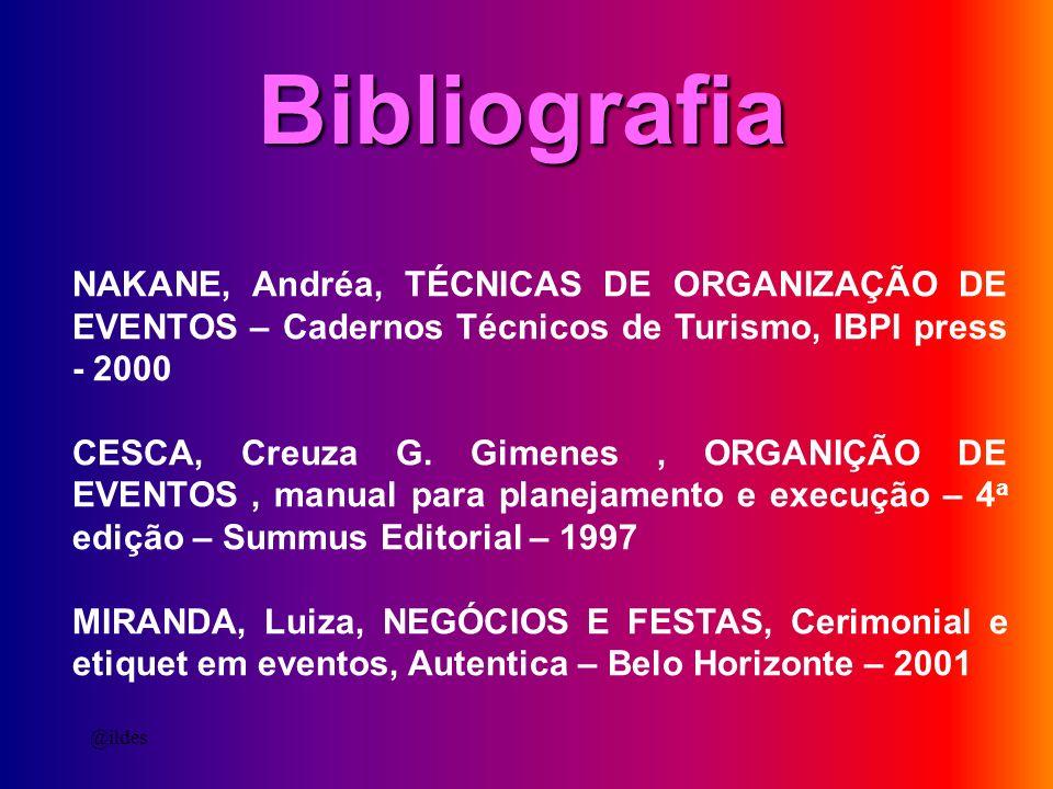 NAKANE, Andréa, TÉCNICAS DE ORGANIZAÇÃO DE EVENTOS – Cadernos Técnicos de Turismo, IBPI press - 2000 CESCA, Creuza G. Gimenes, ORGANIÇÃO DE EVENTOS, m