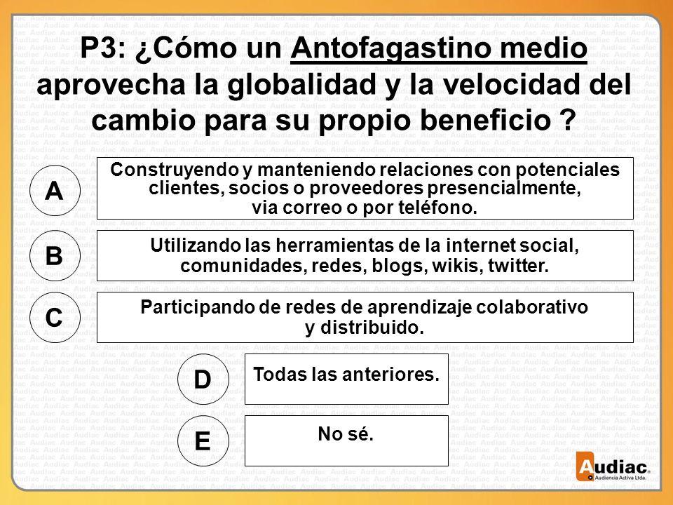 P3: ¿Cómo un Antofagastino medio aprovecha la globalidad y la velocidad del cambio para su propio beneficio .