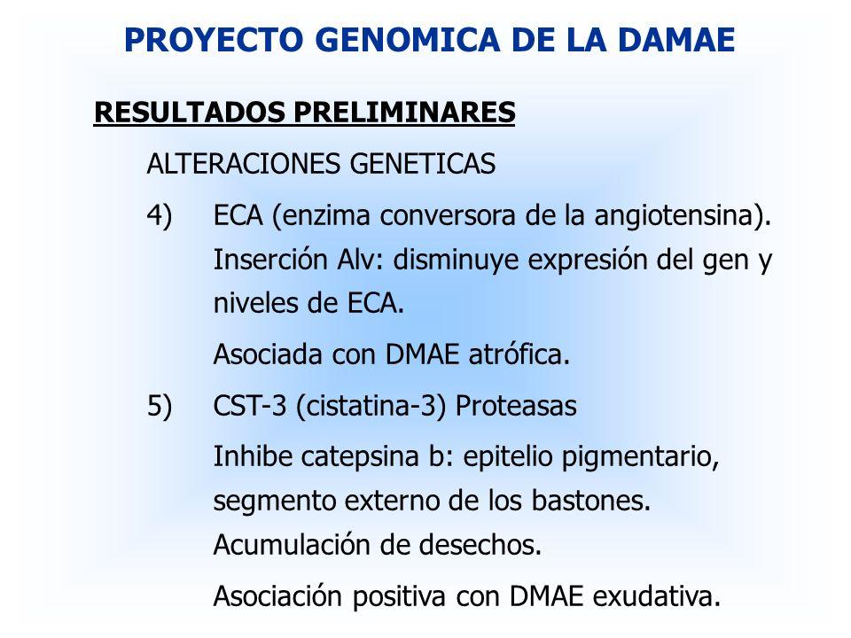 RESULTADOS PRELIMINARES ALTERACIONES GENETICAS 4)ECA (enzima conversora de la angiotensina). Inserción Alv: disminuye expresión del gen y niveles de E