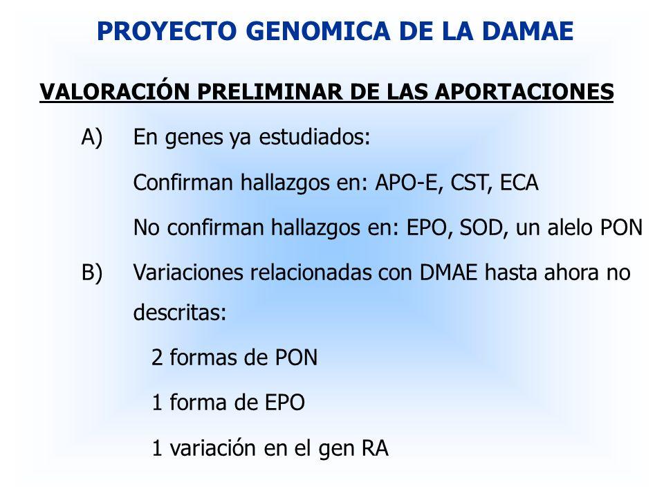 VALORACIÓN PRELIMINAR DE LAS APORTACIONES A)En genes ya estudiados: Confirman hallazgos en: APO-E, CST, ECA No confirman hallazgos en: EPO, SOD, un al