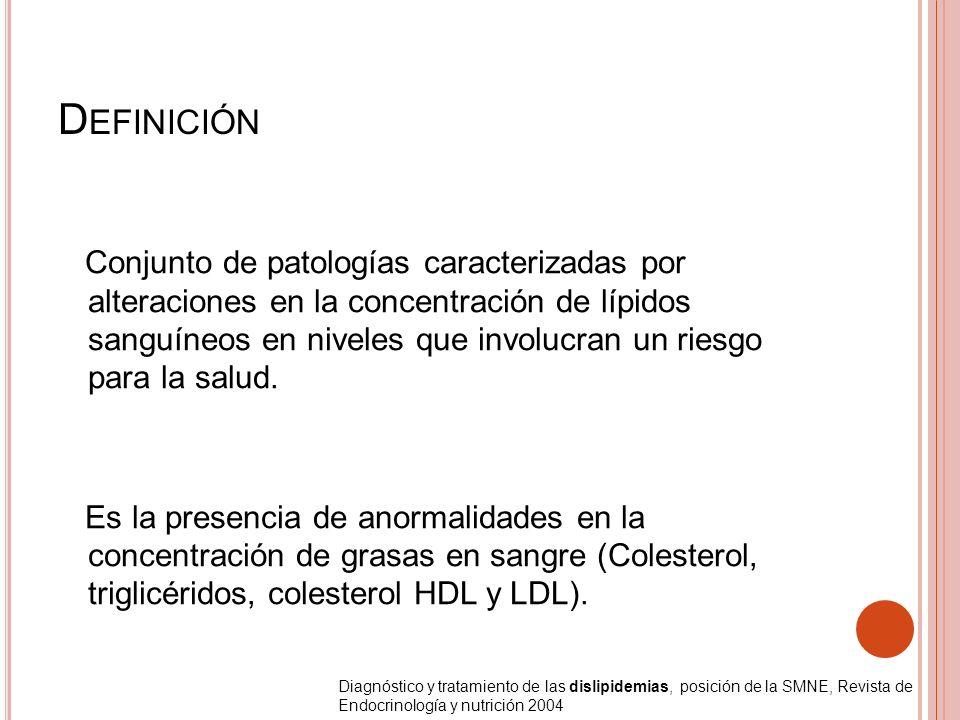 D EFINICIÓN Conjunto de patologías caracterizadas por alteraciones en la concentración de lípidos sanguíneos en niveles que involucran un riesgo para