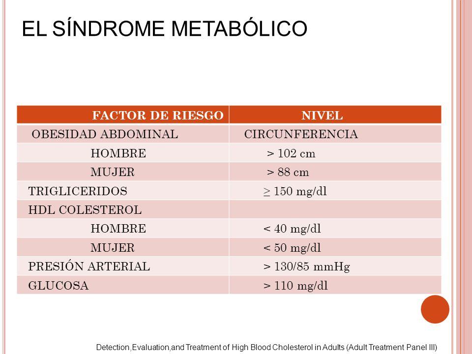EL SÍNDROME METABÓLICO FACTOR DE RIESGO NIVEL OBESIDAD ABDOMINAL CIRCUNFERENCIA HOMBRE > 102 cm MUJER > 88 cm TRIGLICERIDOS 150 mg/dl HDL COLESTEROL H