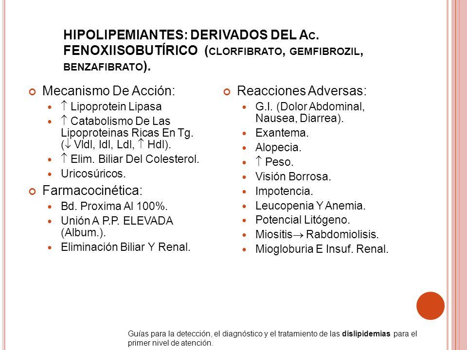 HIPOLIPEMIANTES: DERIVADOS DEL A C. FENOXIISOBUTÍRICO ( CLORFIBRATO, GEMFIBROZIL, BENZAFIBRATO ). Mecanismo De Acción: Lipoprotein Lipasa Catabolismo