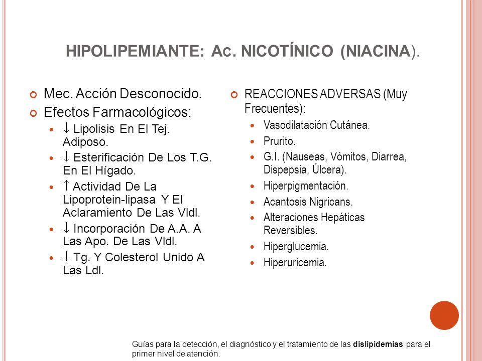 HIPOLIPEMIANTE: A C. NICOTÍNICO (NIACINA). Mec. Acción Desconocido. Efectos Farmacológicos: Lipolisis En El Tej. Adiposo. Esterificación De Los T.G. E