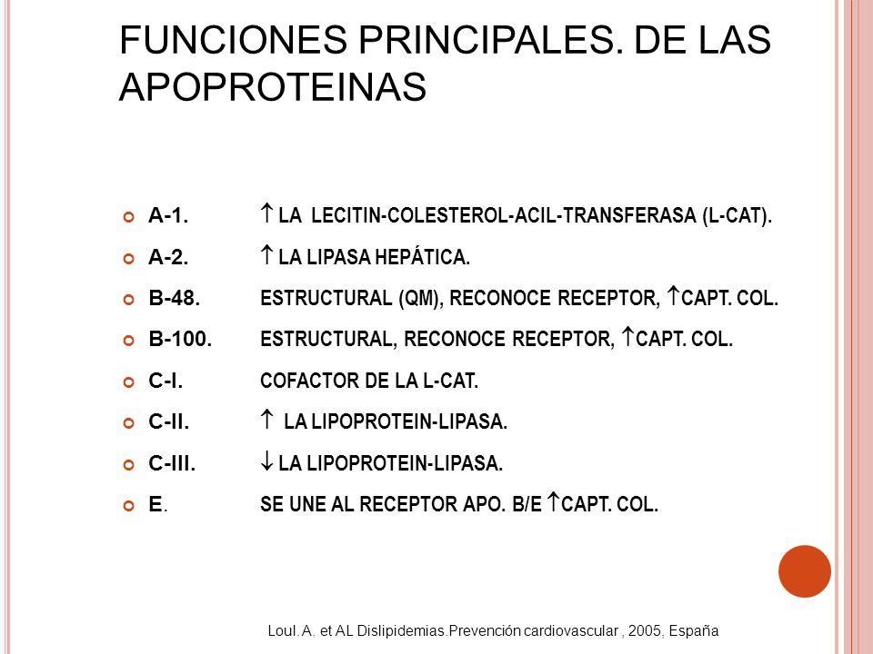 FUNCIONES PRINCIPALES. DE LAS APOPROTEINAS A-1. A-2. B-48. B-100. C-I. C-II. C-III. E. LA LECITIN-COLESTEROL-ACIL-TRANSFERASA (L-CAT). LA LIPASA HEPÁT