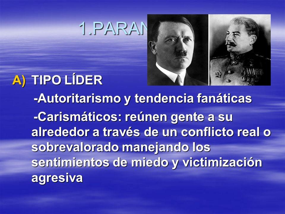 1.PARANOIDES A)TIPO LÍDER -Autoritarismo y tendencia fanáticas -Autoritarismo y tendencia fanáticas -Carismáticos: reúnen gente a su alrededor a travé