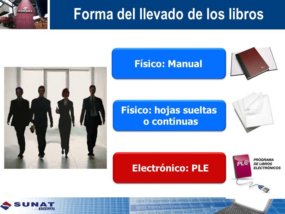 Físico: hojas sueltas o continuas Físico: hojas sueltas o continuas Físico: Manual Electrónico: PLE