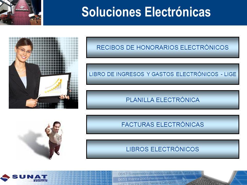 Soluciones Electrónicas RECIBOS DE HONORARIOS ELECTRÓNICOS LIBRO DE INGRESOS Y GASTOS ELECTRÓNICOS - LIGE PLANILLA ELECTRÓNICA FACTURAS ELECTRÓNICAS L