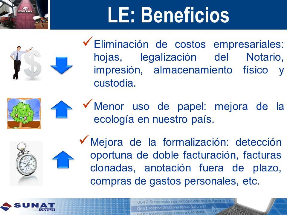 LE: Beneficios Eliminación de costos empresariales: hojas, legalización del Notario, impresión, almacenamiento físico y custodia. Mejora de la formali