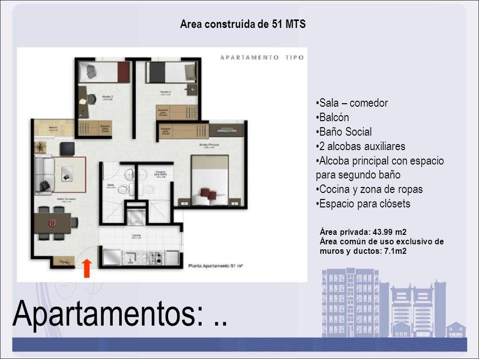 Apartamentos:.. Area construida de 51 MTS Sala – comedor Balcón Baño Social 2 alcobas auxiliares Alcoba principal con espacio para segundo baño Cocina
