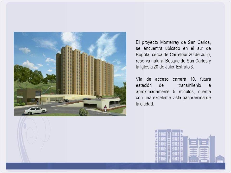 El proyecto Monterrey de San Carlos, se encuentra ubicado en el sur de Bogotá, cerca de Carrefour 20 de Julio, reserva natural Bosque de San Carlos y