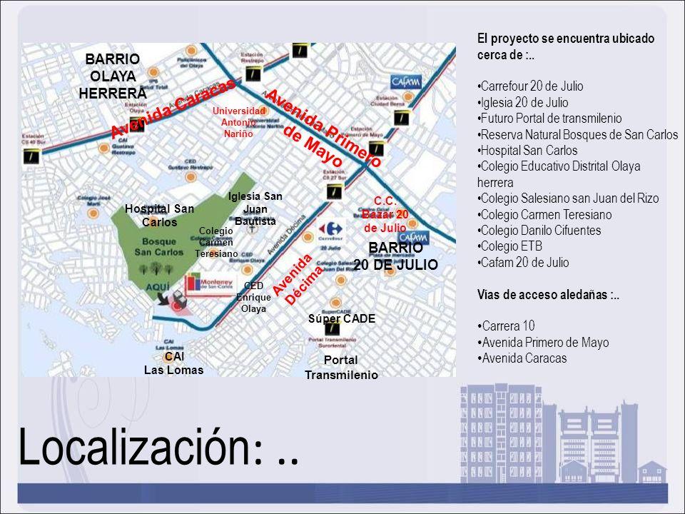 Localización :.. El proyecto se encuentra ubicado cerca de :.. Carrefour 20 de Julio Iglesia 20 de Julio Futuro Portal de transmilenio Reserva Natural