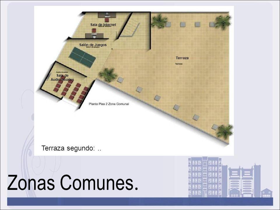 Zonas Comunes. Terraza segundo:.. Sala de Internet Sala de Audiovisuales Salón de Juegos Terraza