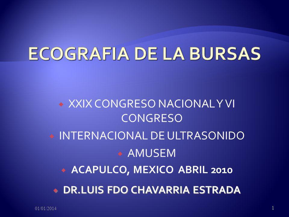 XXIX CONGRESO NACIONAL Y VI CONGRESO INTERNACIONAL DE ULTRASONIDO AMUSEM ACAPULCO, MEXICO ABRIL 2010 DR.LUIS FDO CHAVARRIA ESTRADA DR.LUIS FDO CHAVARR