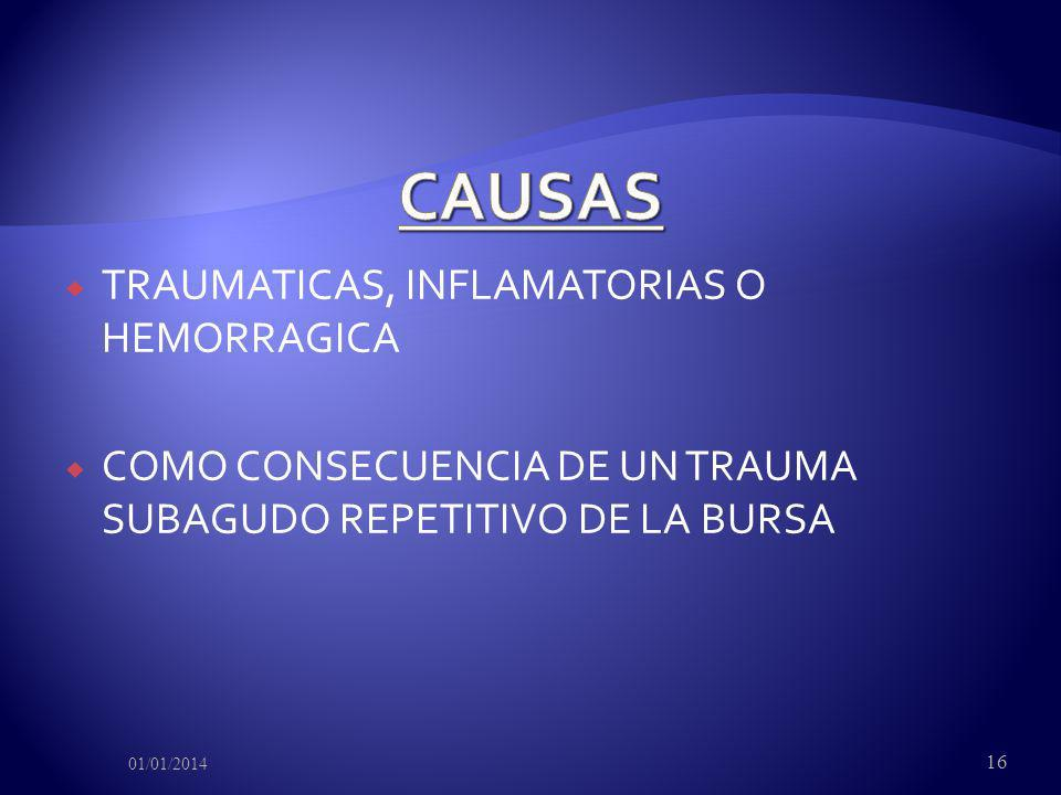 TRAUMATICAS, INFLAMATORIAS O HEMORRAGICA COMO CONSECUENCIA DE UN TRAUMA SUBAGUDO REPETITIVO DE LA BURSA 01/01/2014 16