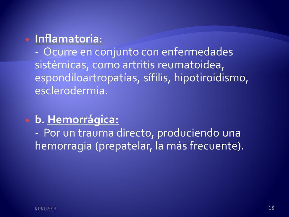 Inflamatoria: - Ocurre en conjunto con enfermedades sistémicas, como artritis reumatoidea, espondiloartropatías, sífilis, hipotiroidismo, esclerodermi