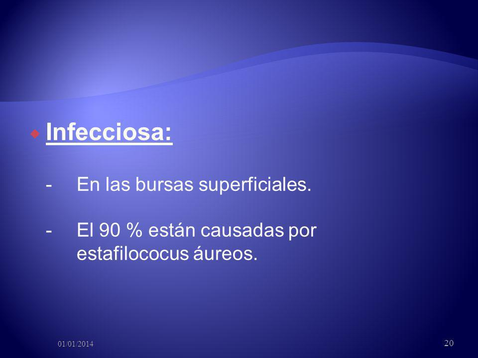 Infecciosa: - En las bursas superficiales. - El 90 % están causadas por estafilococus áureos. 01/01/2014 20