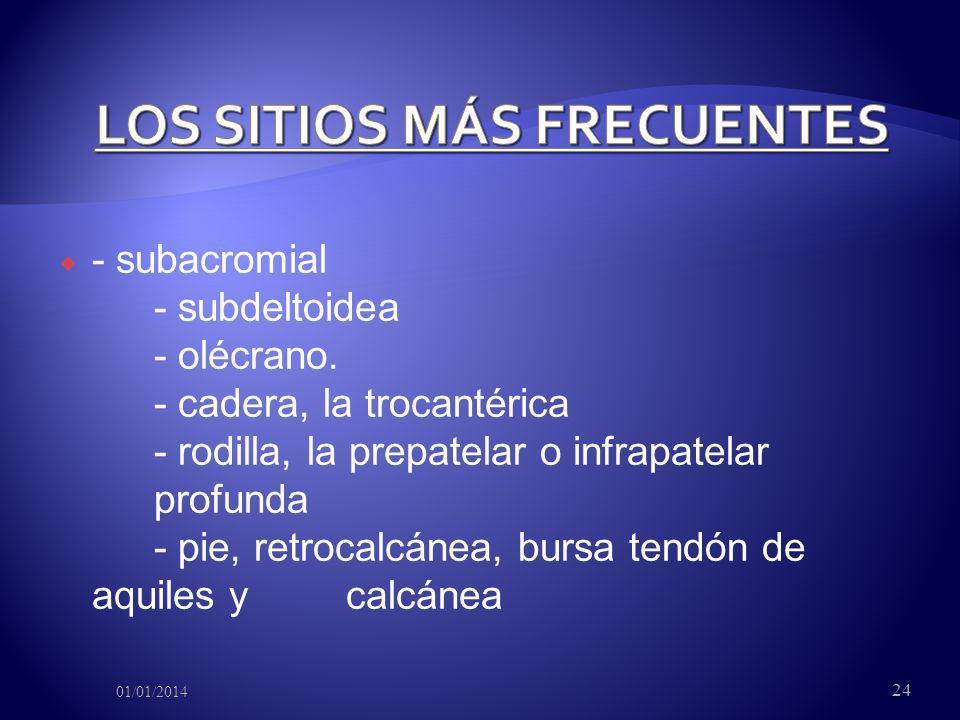 - subacromial - subdeltoidea - olécrano. - cadera, la trocantérica - rodilla, la prepatelar o infrapatelar profunda - pie, retrocalcánea, bursa tendón