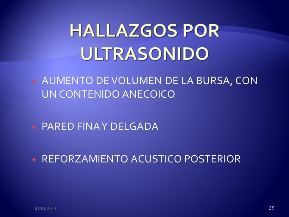 AUMENTO DE VOLUMEN DE LA BURSA, CON UN CONTENIDO ANECOICO PARED FINA Y DELGADA REFORZAMIENTO ACUSTICO POSTERIOR 01/01/2014 25