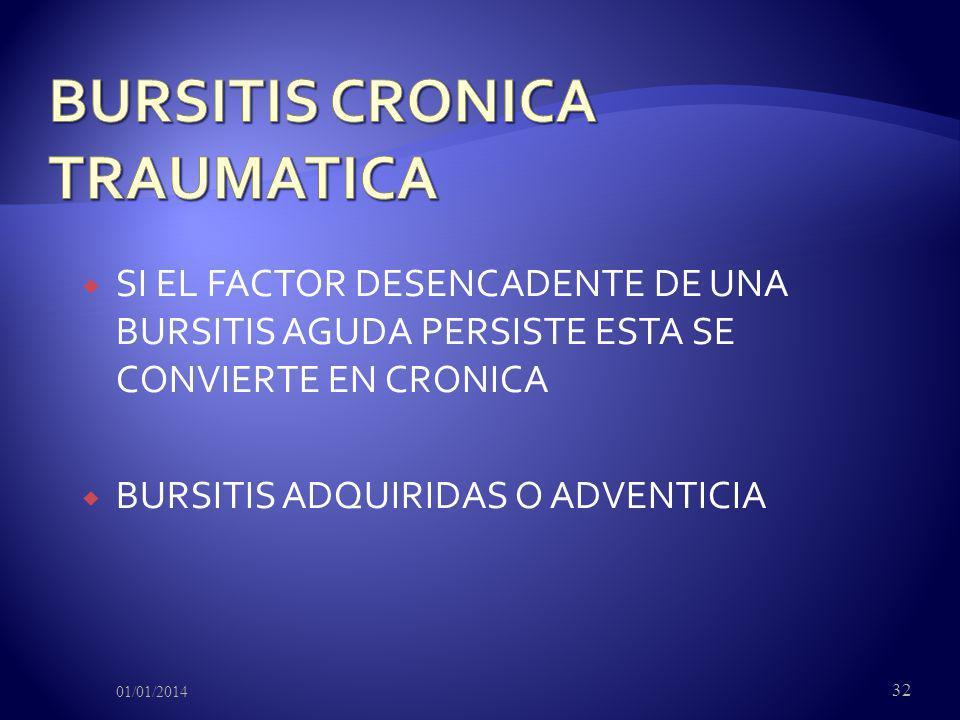 SI EL FACTOR DESENCADENTE DE UNA BURSITIS AGUDA PERSISTE ESTA SE CONVIERTE EN CRONICA BURSITIS ADQUIRIDAS O ADVENTICIA 01/01/2014 32