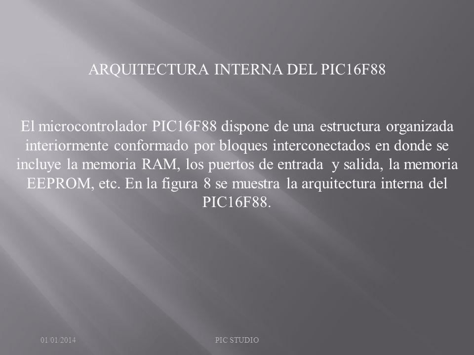 ARQUITECTURA INTERNA DEL PIC16F88 El microcontrolador PIC16F88 dispone de una estructura organizada interiormente conformado por bloques interconectad