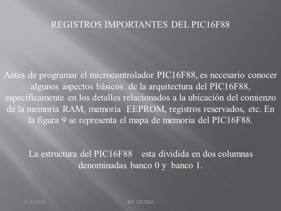 REGISTROS IMPORTANTES DEL PIC16F88 Antes de programar el microcontrolador PIC16F88, es necesario conocer algunos aspectos básicos de la arquitectura d
