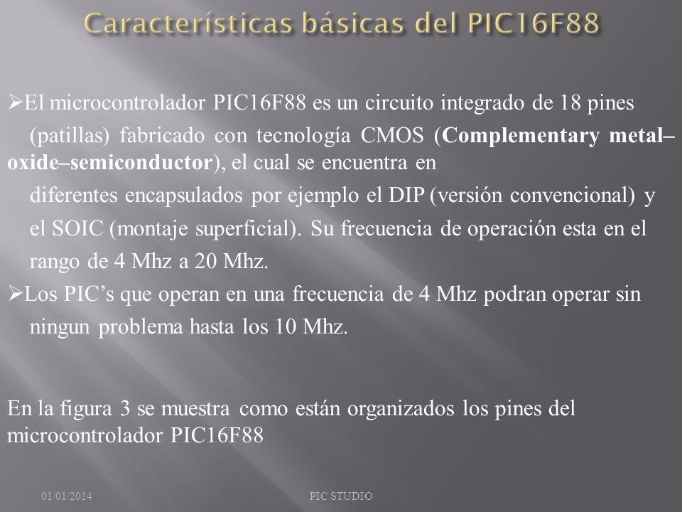 El microcontrolador PIC16F88 es un circuito integrado de 18 pines (patillas) fabricado con tecnología CMOS (Complementary metal– oxide–semiconductor),
