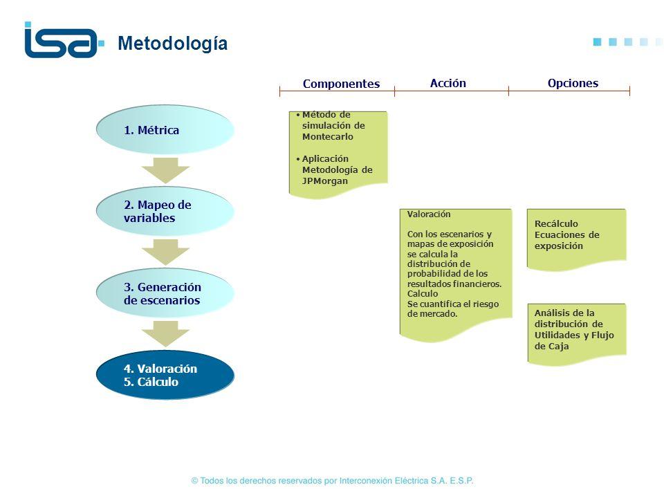 1. Métrica 2. Mapeo de variables 3. Generación de escenarios 4. Valoración 5. Cálculo Método de simulación de Montecarlo Aplicación Metodología de JPM