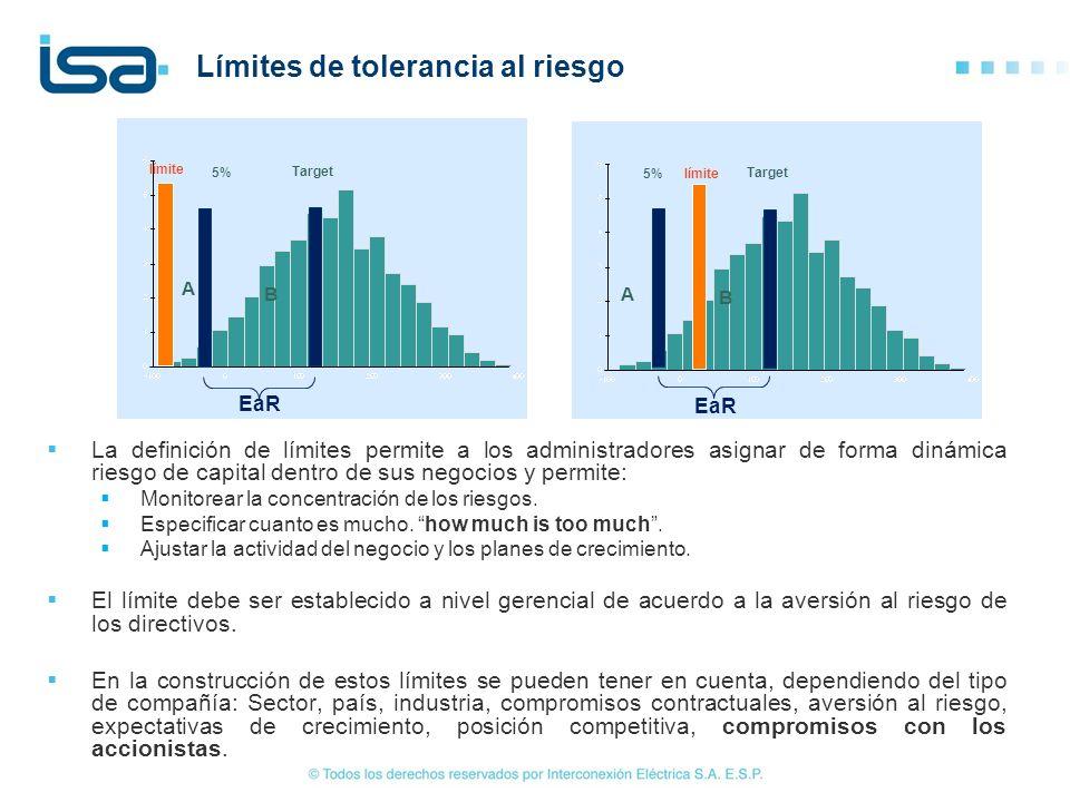 Límites de tolerancia al riesgo La definición de límites permite a los administradores asignar de forma dinámica riesgo de capital dentro de sus negoc