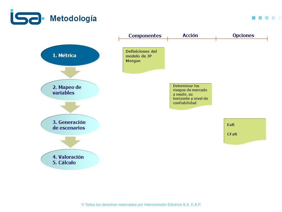 1. Métrica 2. Mapeo de variables 3. Generación de escenarios 4. Valoración 5. Cálculo Definiciones del modelo de JP Morgan Determinar los riesgos de m