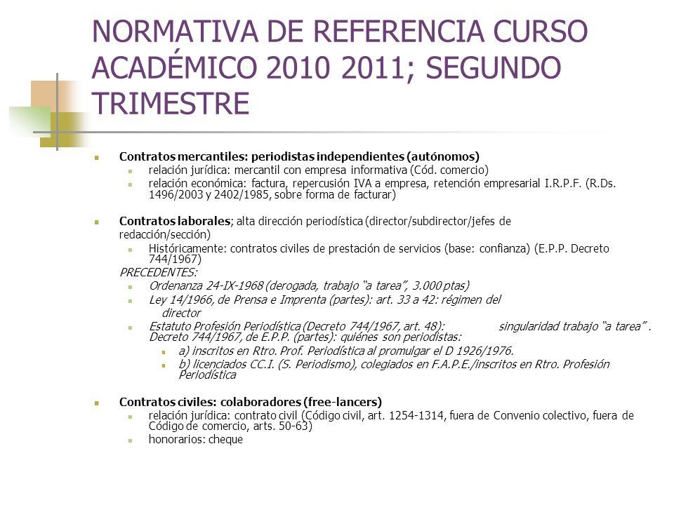 NORMATIVA DE REFERENCIA CURSO ACADÉMICO 2010 2011; SEGUNDO TRIMESTRE Contratos mercantiles: periodistas independientes (autónomos) relación jurídica: mercantil con empresa informativa (Cód.