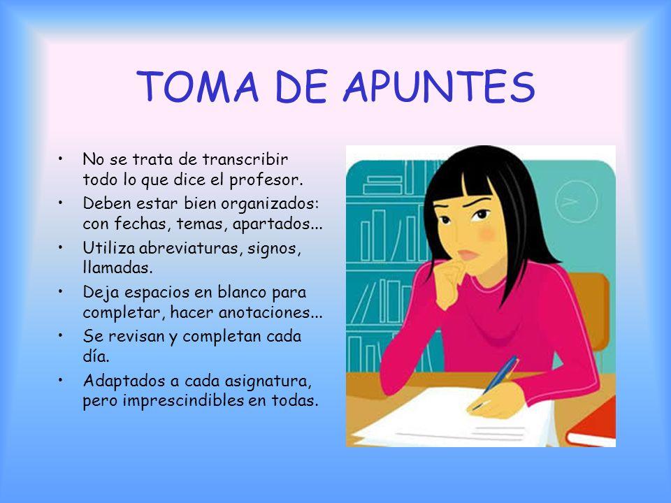 ATENCIÓN ACTIVA EN CLASE La idea clave es importantísima: adoptar una actitud activa en clase: Toma apuntes, escribe, haz esquemas, levanta la mano, p