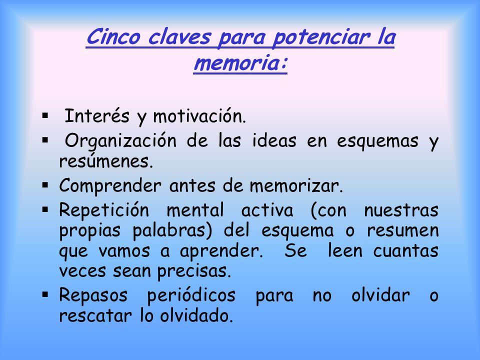 Claves de la MEMORIA Olvidamos los conocimientos que no hemos relacionado con otros. Se olvida antes lo estudiado por la mañana que por la noche, aunq