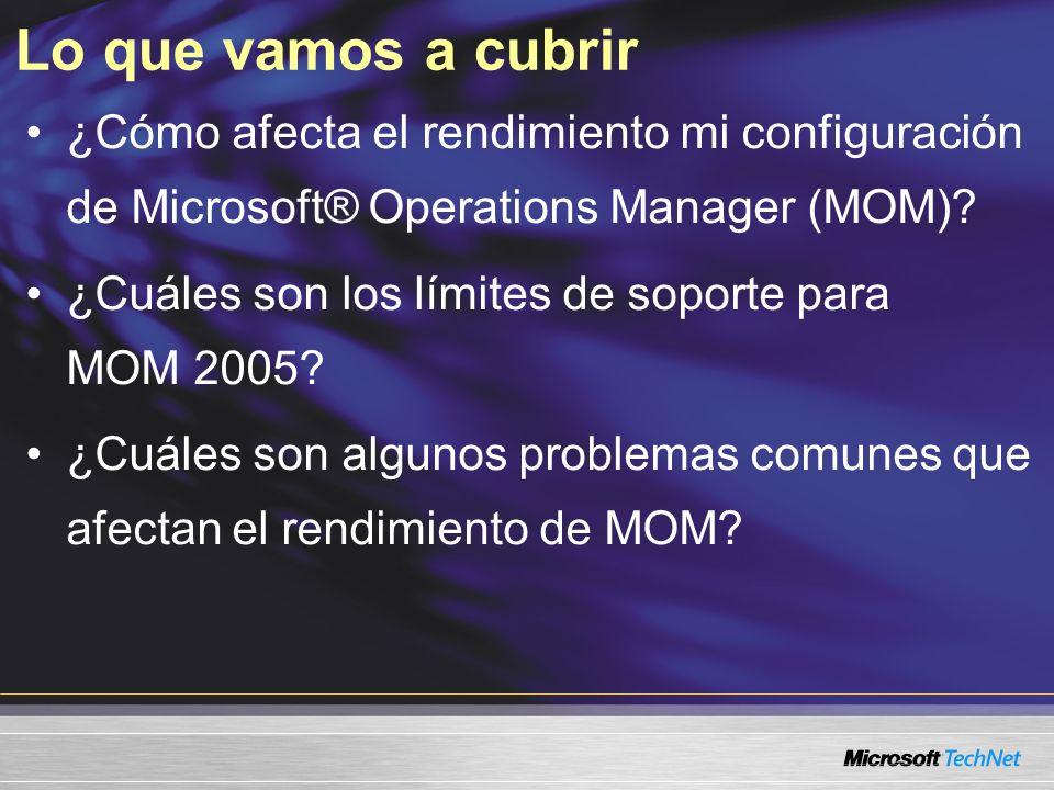 Lo que vamos a cubrir ¿Cómo afecta el rendimiento mi configuración de Microsoft® Operations Manager (MOM).