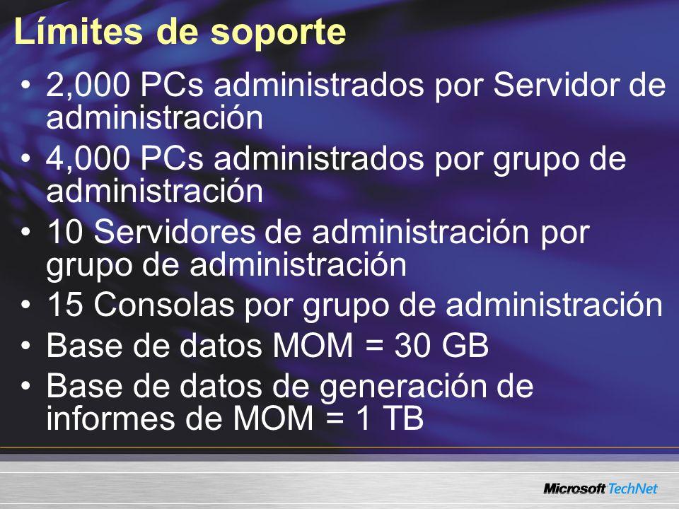 Límites de soporte 2,000 PCs administrados por Servidor de administración 4,000 PCs administrados por grupo de administración 10 Servidores de administración por grupo de administración 15 Consolas por grupo de administración Base de datos MOM = 30 GB Base de datos de generación de informes de MOM = 1 TB