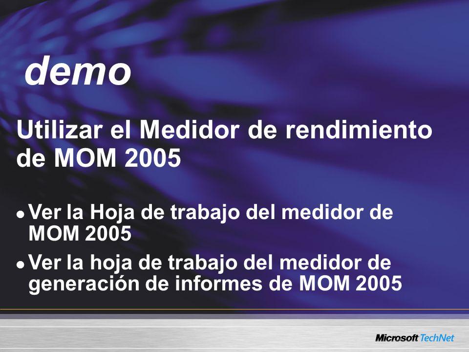 Demo Utilizar el Medidor de rendimiento de MOM 2005 Ver la Hoja de trabajo del medidor de MOM 2005 Ver la hoja de trabajo del medidor de generación de informes de MOM 2005 demo
