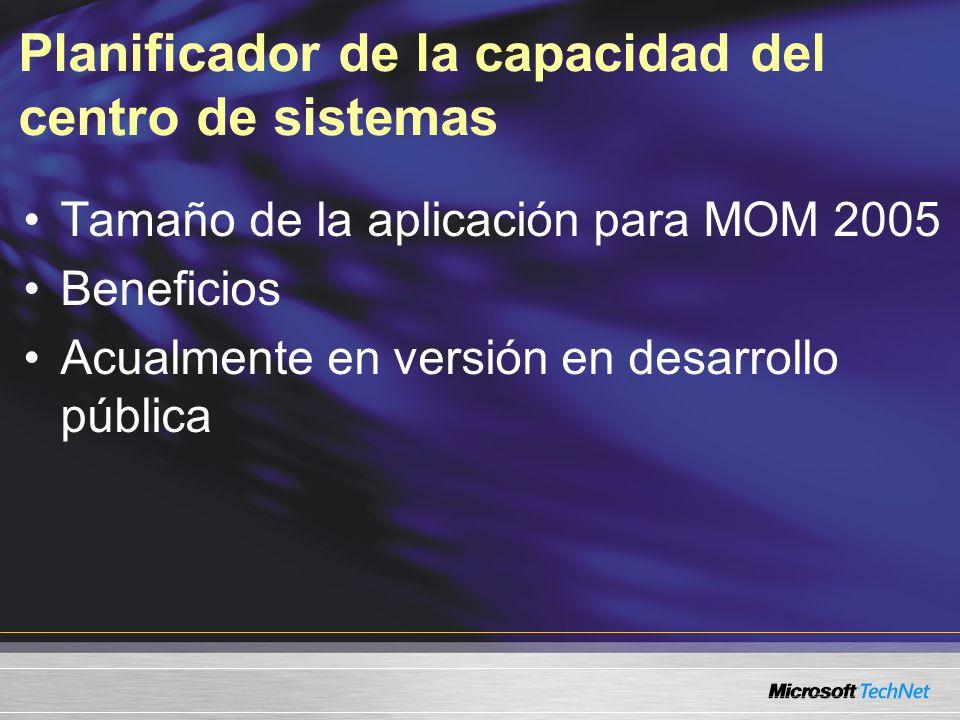 Planificador de la capacidad del centro de sistemas Tamaño de la aplicación para MOM 2005 Beneficios Acualmente en versión en desarrollo pública