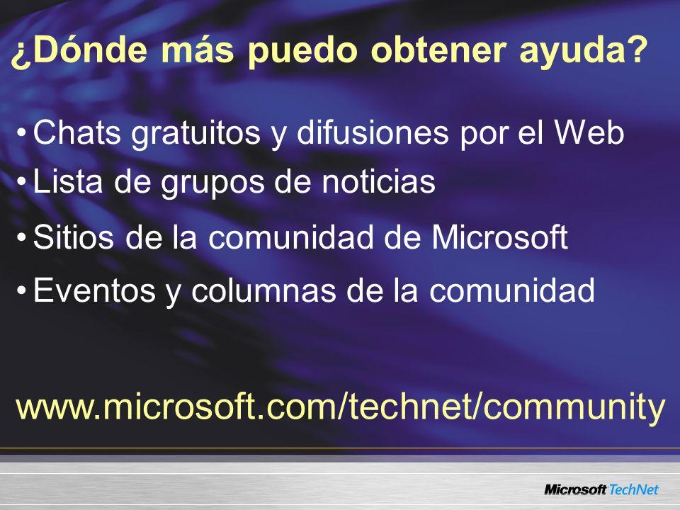 Chats gratuitos y difusiones por el Web Lista de grupos de noticias Sitios de la comunidad de Microsoft Eventos y columnas de la comunidad ¿Dónde más puedo obtener ayuda.