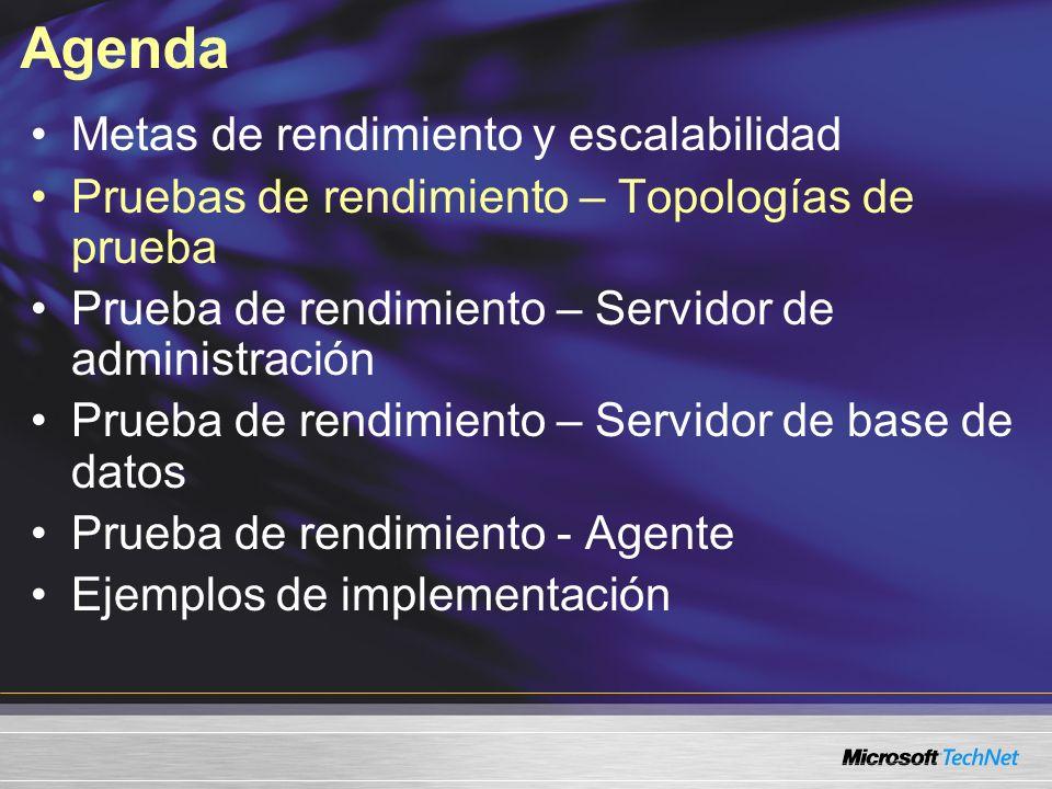 Agenda Metas de rendimiento y escalabilidad Pruebas de rendimiento – Topologías de prueba Prueba de rendimiento – Servidor de administración Prueba de rendimiento – Servidor de base de datos Prueba de rendimiento - Agente Ejemplos de implementación