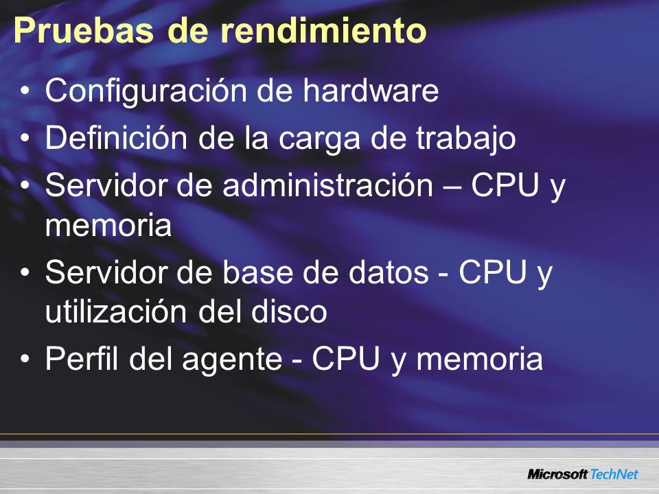 Pruebas de rendimiento Configuración de hardware Definición de la carga de trabajo Servidor de administración – CPU y memoria Servidor de base de datos - CPU y utilización del disco Perfil del agente - CPU y memoria