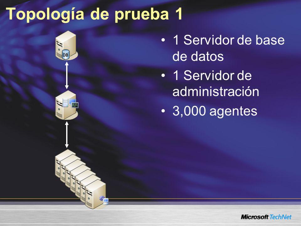 Topología de prueba 1 1 Servidor de base de datos 1 Servidor de administración 3,000 agentes