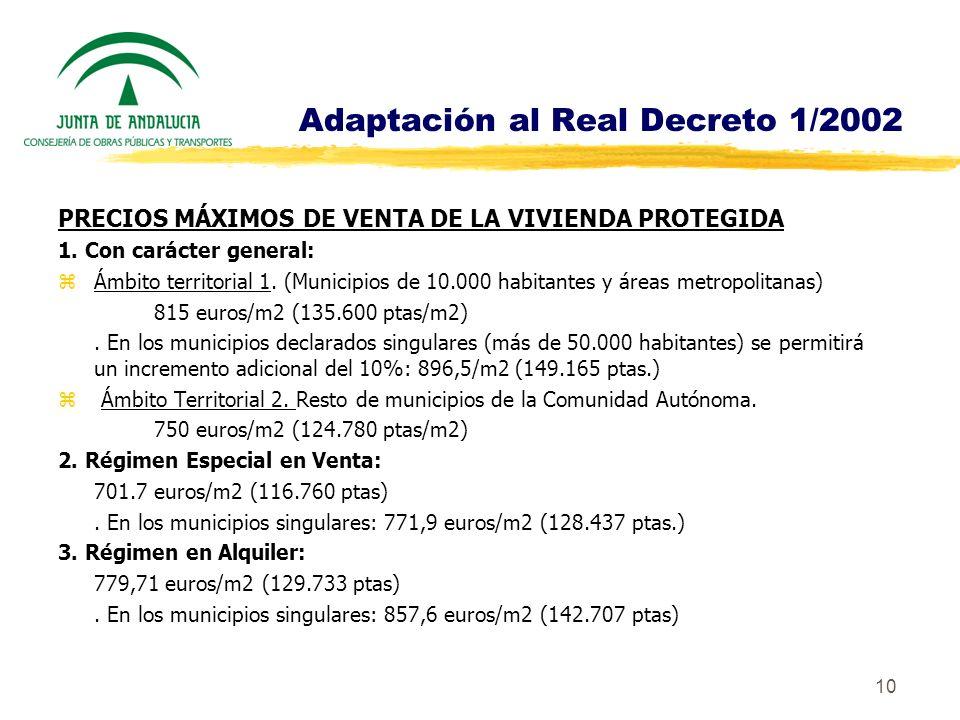 10 Adaptación al Real Decreto 1/2002 PRECIOS MÁXIMOS DE VENTA DE LA VIVIENDA PROTEGIDA 1. Con carácter general: zÁmbito territorial 1. (Municipios de
