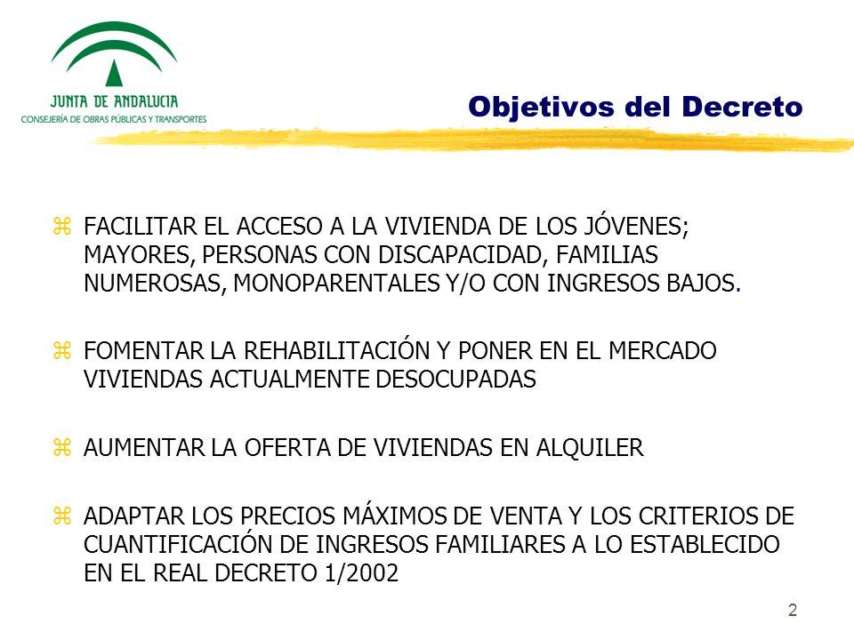 2 Objetivos del Decreto zFACILITAR EL ACCESO A LA VIVIENDA DE LOS JÓVENES; MAYORES, PERSONAS CON DISCAPACIDAD, FAMILIAS NUMEROSAS, MONOPARENTALES Y/O