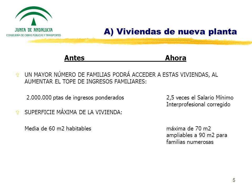 5 A) Viviendas de nueva planta AntesAhora ñUN MAYOR NÚMERO DE FAMILIAS PODRÁ ACCEDER A ESTAS VIVIENDAS, AL AUMENTAR EL TOPE DE INGRESOS FAMILIARES: 2.