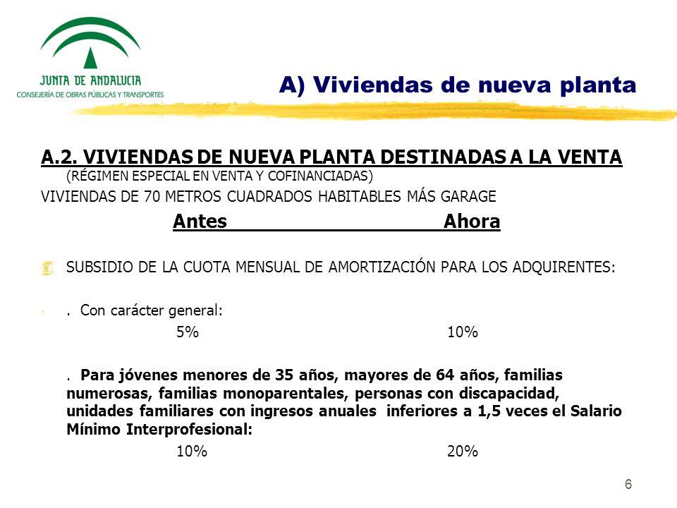 7 A) Viviendas de nueva planta 4CON CARÁCTER GENERAL SE MANTIENE LA SUBVENCIÓN A LOS PROMOTORES DEL 5% DEL PRECIO MÁXIMO DE VENTA, EXCEPTO EN LOS MUNICIPIOS SINGULARES.