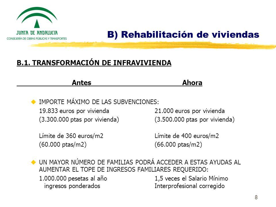 8 B) Rehabilitación de viviendas B.1. TRANSFORMACIÓN DE INFRAVIVIENDA AntesAhora uIMPORTE MÁXIMO DE LAS SUBVENCIONES: 19.833 euros por vivienda 21.000