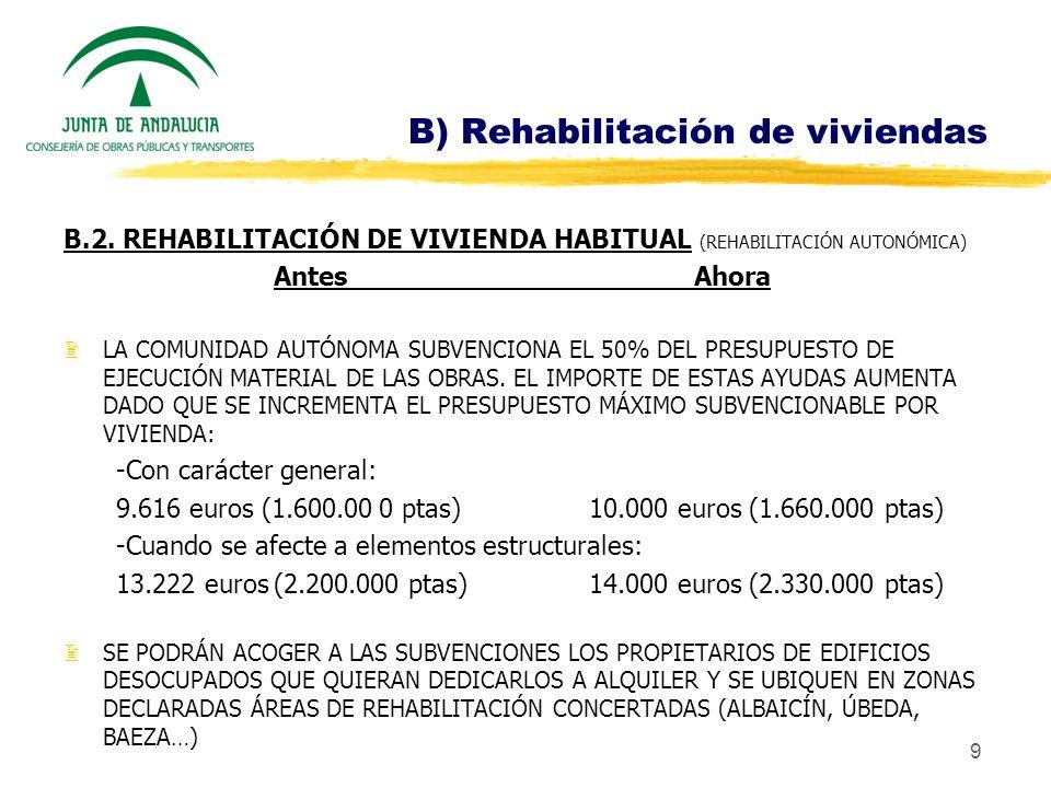 9 B) Rehabilitación de viviendas B.2. REHABILITACIÓN DE VIVIENDA HABITUAL (REHABILITACIÓN AUTONÓMICA) AntesAhora 2LA COMUNIDAD AUTÓNOMA SUBVENCIONA EL