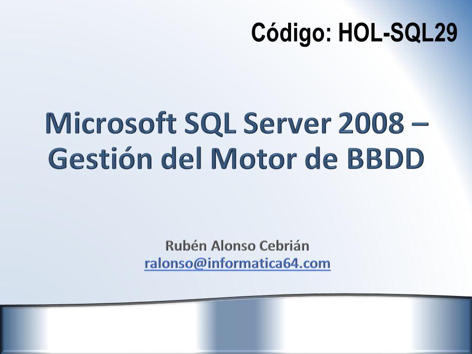 - Microsoft SQL Server 2008 dispone de la posibilidad de generar un repositorio centralizado para la recopilación de datos de rendimiento, así como nuevos informes y herramientas de monitorización Recolección de Datos